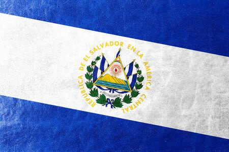 el salvador flag: El Salvador Flag painted on leather texture