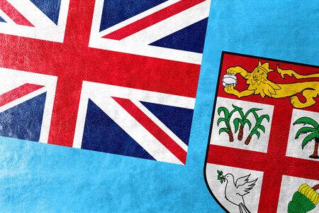 fiji: Fiji Flag painted on leather texture