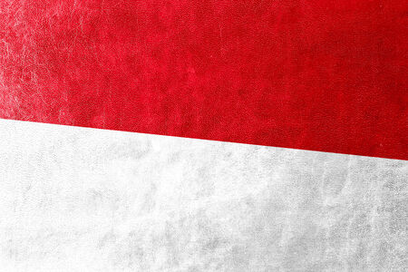 Indonesia Flag painted on leather texture photo