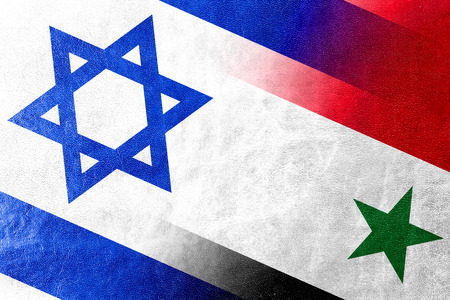 Israel and Syria Flag painted on leather texture photo