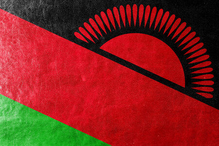 malawi: Malawi Flag painted on leather texture