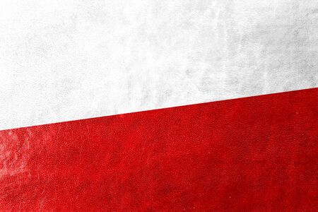 Poland Flag painted on leather texture photo