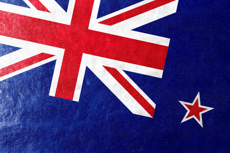 new zealand flag: New Zealand Flag painted on leather texture