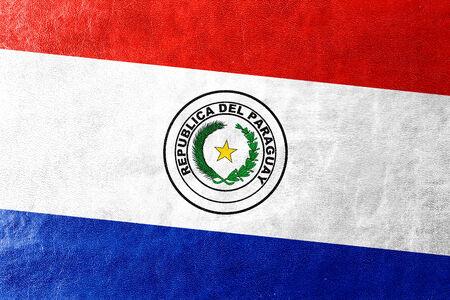 bandera de paraguay: Bandera de Paraguay pintada en textura de cuero Foto de archivo