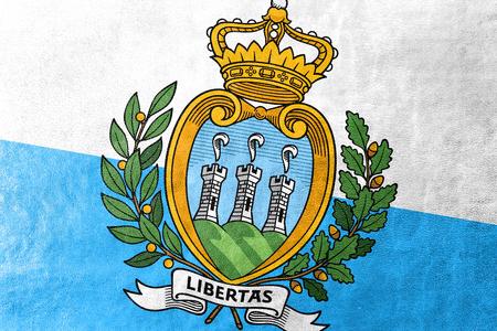 sammarinese: San Marino bandiera dipinta sulla struttura di cuoio Archivio Fotografico