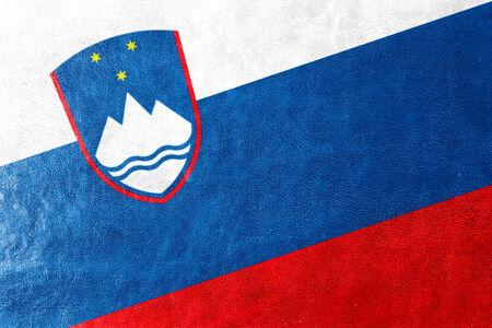 Slovenia Flag painted on leather texture