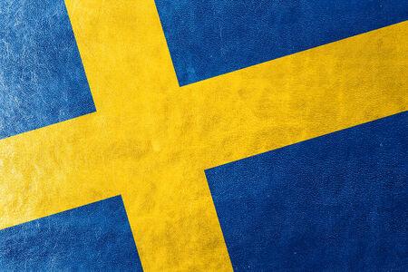 bandera suecia: Suecia bandera pintada en textura de cuero