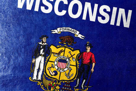 wisconsin state: Wisconsin State Flag painted on leather texture