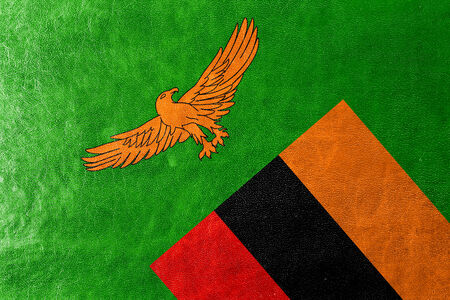 zambia flag: Zambia Flag painted on leather texture Stock Photo