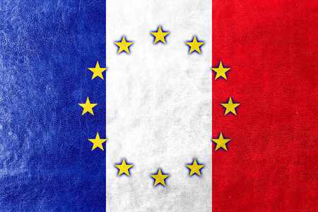 France and European Union Flag painted on leather texture photo