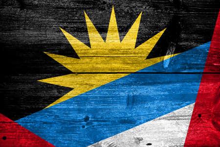 antigua: Antigua and Barbuda Flag painted on old wood plank texture
