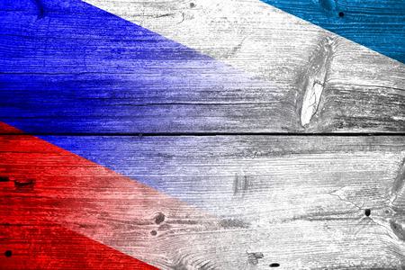 crimea: Autonomous Republic of Crimea and Russia Flag painted on old wood plank texture