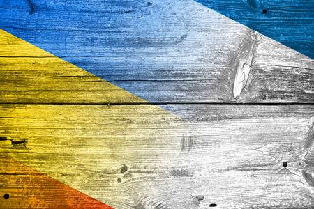 crimea: Autonomous Republic of Crimea and Ukraine Flag painted on old wood plank texture