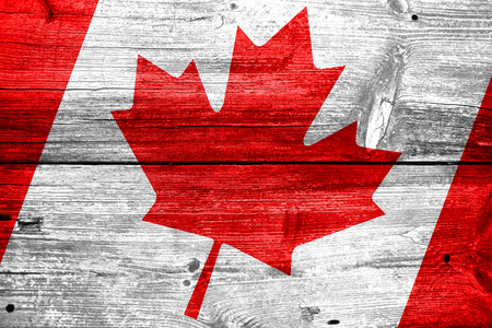 Canada flag painted on old wood plank background