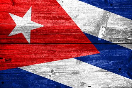 cuba flag: Cuba Flag painted on old wood plank texture