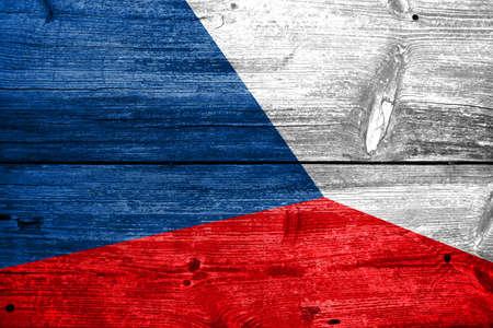 czech republic flag: Czech Republic flag on wood texture Stock Photo