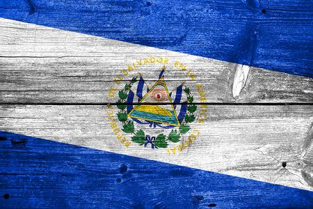 el salvador flag: El Salvador Flag painted on old wood plank texture