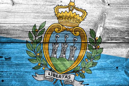 san marino: San Marino Flag painted on old wood plank texture