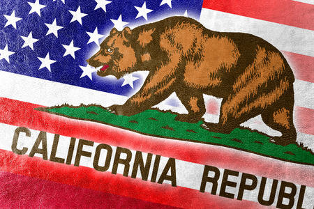 california state: USA and California State Flag painted on leather texture Stock Photo