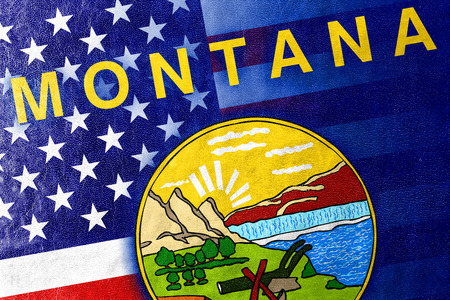 consolidated: USA and Montana State Flag painted on leather texture Stock Photo