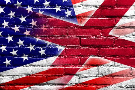 alabama flag: USA and Alabama State Flag painted on brick wall