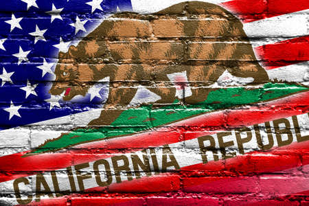 california state: USA and California State Flag painted on brick wall