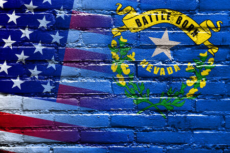 consolidated: USA and Nevada State Flag painted on brick wall