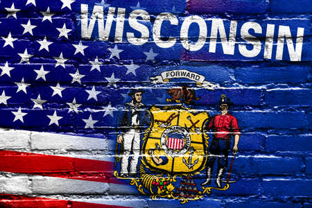 consolidated: USA and Wisconsin State Flag painted on brick wall