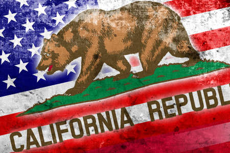 california state: USA and California State Flag with a vintage and old look Stock Photo