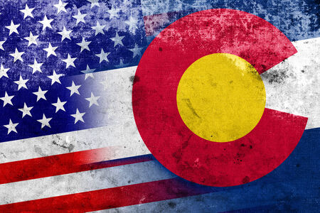 colorado state: USA and Colorado State Flag with a vintage and old look Stock Photo