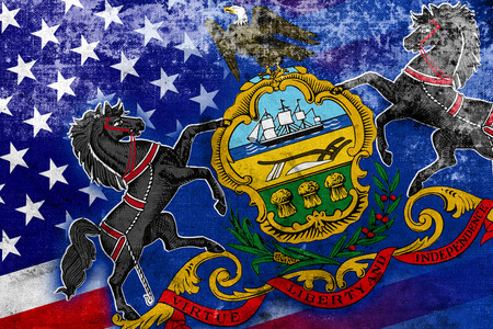 consolidated: USA and Pennsylvania State Flag with a vintage and old look