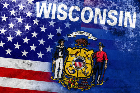 wisconsin state: USA and Wisconsin State Flag with a vintage and old look