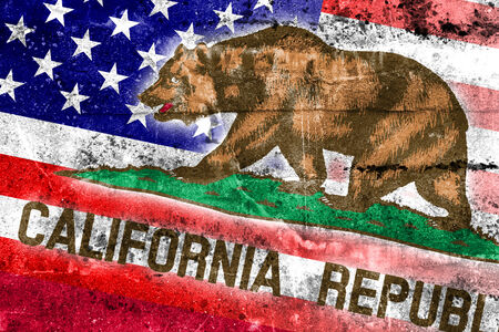 california state: USA and California State Flag painted on grunge wall Stock Photo