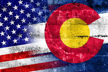 colorado state: USA and Colorado State Flag painted on grunge wall Stock Photo
