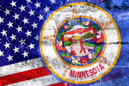 consolidated: USA and Minnesota State Flag painted on grunge wall