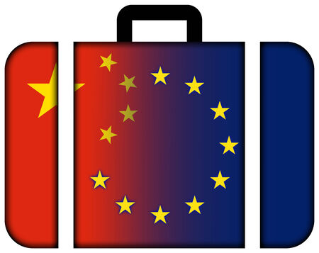 european union: Suitcase with China and European Union Flag