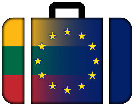 charges: Suitcase with Lithuania and European Union Flag