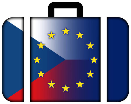charges: Suitcase with Czech Republic and European Union Flag
