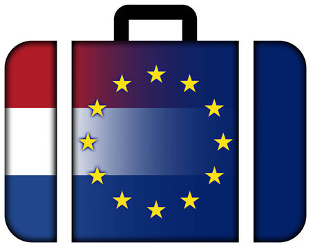 european union: Suitcase with Netherlands and European Union Flag Stock Photo