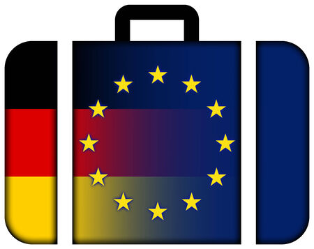european union: Suitcase with Germany and European Union Flag