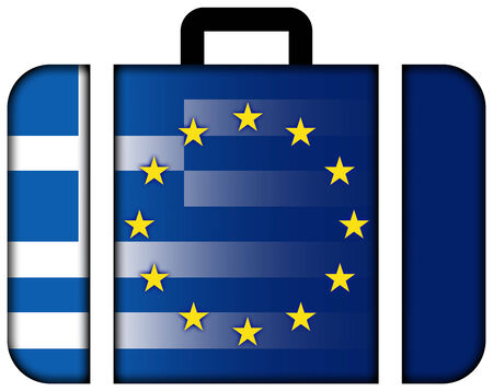 charges: Suitcase with Greece and European Union Flag