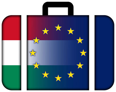 charges: Suitcase with Hungary and European Union Flag