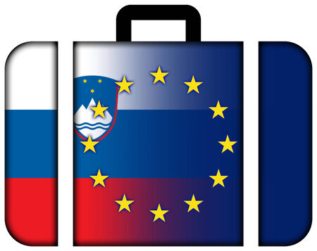charges: Suitcase with Slovenia and European Union Flag Stock Photo