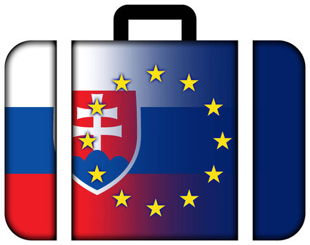 customs official: Suitcase with Slovakia and European Union Flag Stock Photo