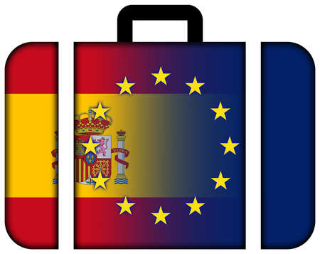charges: Suitcase with Spain and European Union Flag