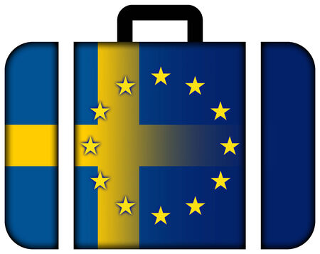 european union: Suitcase with Sweden and European Union Flag