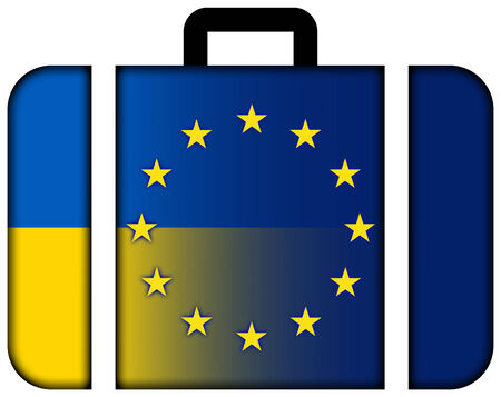 european union: Suitcase with Ukraine and Suitcase with European Union Flag Stock Photo