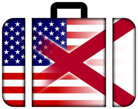 alabama state: Suitcase with USA and Alabama State Flag