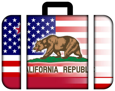 charges: Suitcase with USA and California State Flag
