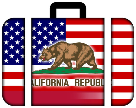 california state: Suitcase with USA and California State Flag